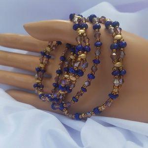 Jewelry - Bracelet Lapis Crystals Brass & Gold Beaded